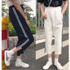 Contrast Trim Cropped Wide-leg Jeans