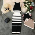 Halter Striped Midi Knit Sheath Dress