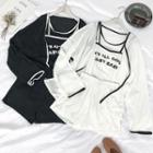 Set: Piped Light Jacket + Letter Tank Top + Shorts