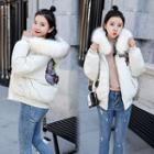 Furry-trim Embroidered Zip Padded Jacket