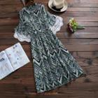Chevron Patterned Elbow Sleeve Chiffon Dress