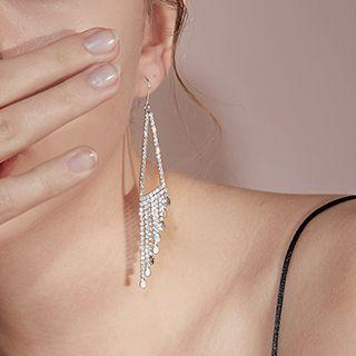 Geometry Fringed Dangle Earring 1 Pair - Silver - One Size