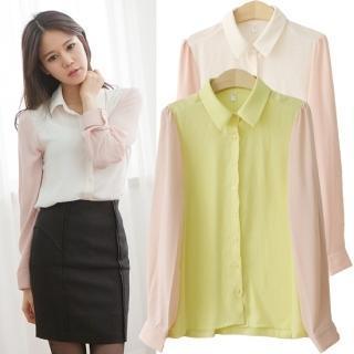 Color-block Long-sleeve Blouse