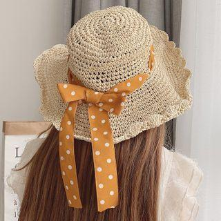 Dotted Bow Woven Sun Hat