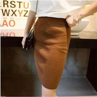 Slit-side Knit Pencil Skirt