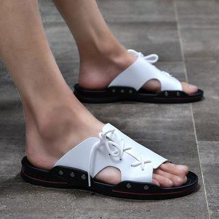 Genuine Leather String Accent Sandals