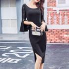 Plain Bell Elbow-sleeve Dress