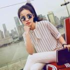Chiffon Striped Elbow-sleeve Blouse