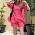 Set: Drop-shoulder Monotone T-shirt + Sweatshorts