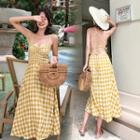 Strappy Open-back Gingham Midi A-line Dress
