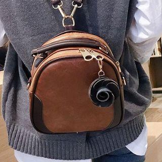 Color Block Mini Faux-leather Backpack