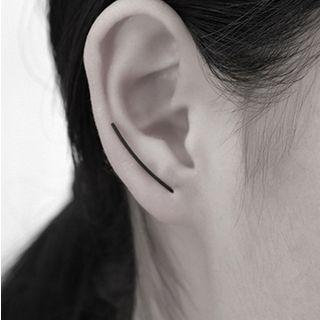 Alloy Minimal U-shape Earring Black - One Size