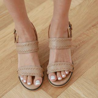 Block-heel Braided-strap Sandals
