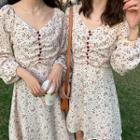 Long-sleeve Dotted A-line Dress / Midi Dress