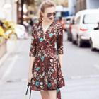 Floral Print Elbow-sleeve V-neck A-line Dress