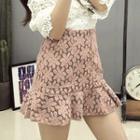 Floral Ruffle A-line Skirt