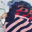 Mock Neck Striped Pullover