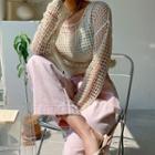 Set: Drop-shoulder Fishnet Knit Top + Sleeveless Top