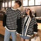Couple Matching Houndstooth Open Front Cardigan / Sweater