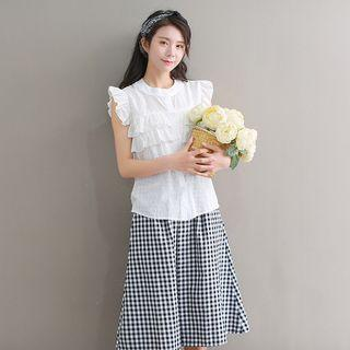 Sleeveless Ruffle Trim Chiffon Top White - One Size