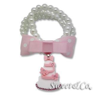 Sweet Pink Polka Dots Bow Dolly Cake Charm Pearly Bracelet Pink - One Size