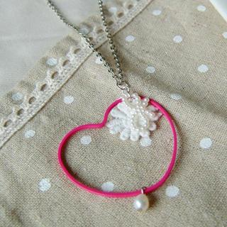 Japanese Style Heart Frame Necklace(pink)