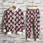 Set: Patterned Zip-up Jacket + Sweatpants