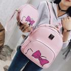 Set: Bow Printed Backpack + Zip Pouch