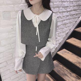 Long-sleeve Tie-neck Blouse / Vest / Mini Pencil Skirt / Set