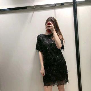 Sequined Fringed Short-sleeve Mini Dress