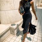 Sleeveless Slit-side Ruffled Dress