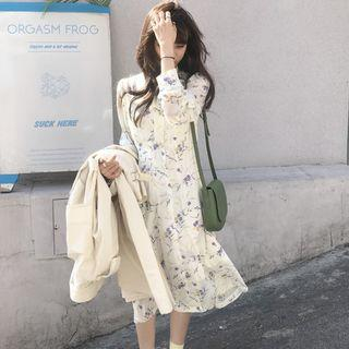 Long-sleeve Floral Print A-line Midi Dress Off-white - One Size