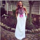 Tasseled Patterned Sleeveless Maxi Dress