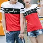 Couple Matching Lettering Color Panel Short Sleeve T-shirt