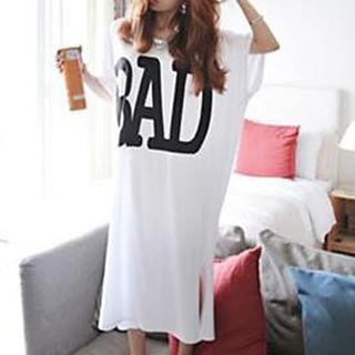 Lettering Elbow Sleeve Midi T-shirt Dress