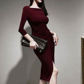 Side-slit 3/4-sleeve Sheath Dress