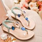 Jeweled Flat Sandals