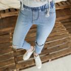 Band-waist Distressed Washed Slim-fit Jeans