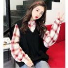 Mock Two-piece Plaid Sweatshirt