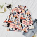 Printed Long-sleeve Blouse House - One Size