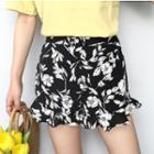 Ruffle Hem Floral Print Shorts