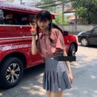 Elbow-sleeve Shirt / Pleated Mini Skirt