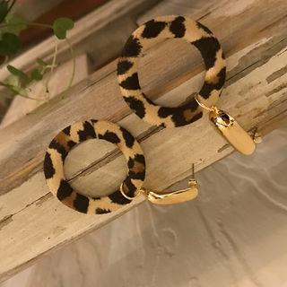 Leopard Hoop Earrings Gold - One Size