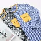 Long-sleeve Pocket-accent Striped Top