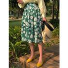 Pleated Floral Midi Plaid Skirt