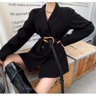Plain Slim-fit Coat / Belt
