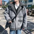 Faux-shearling Panel Hooded Zip Jacket