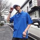 Short-sleeve Polo Collar Printed T-shirt