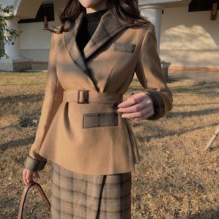 Set Of 2: Panel Plaid Jacket + Plaid Skirt
