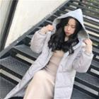 Contrast Hooded Padded Coat